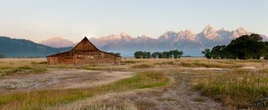 Barn and Grand Tetons Stock Image