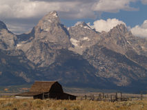 Barn and Grand Tetons Stock Photo