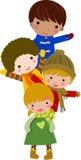 barn grupperar lyckligt Arkivfoton