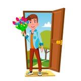 Barn Guy In The Open Door med blommor och gåvavektorn isolerad knapphandillustration skjuta s-startkvinnan royaltyfri illustrationer