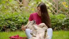 Barn härlig flicka som spelar med hunden i trädgård stock video
