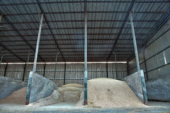 Grain Barn. A barn half full with various types of grain as well as hay Stock Photography