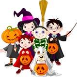 barn halloween som behandlar trick stock illustrationer