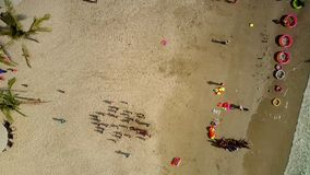 Barn har gyckel på stranden med slags solskydd och excotic träd lager videofilmer