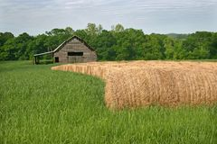 Barn & Hay Rolls Stock Photo