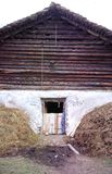 Barn with hay stacks,Bernese Overland. Switzerlanl Royalty Free Stock Photo