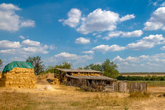 Barn and hayloft in the village. Ukrainian summer Stock Photo
