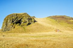 Barn on a hill in southern Iceland Royalty Free Stock Images