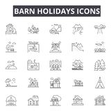 Barn holidays line icons for web and mobile design. Editable stroke signs. Barn holidays  outline concept illustrations royalty free illustration