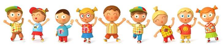 Barn hoppar för glädje vektor illustrationer