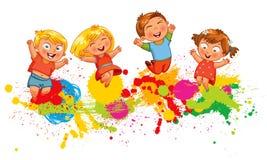 Barn hoppar för glädje Arkivfoto