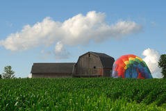 Barn and Hot Air Balloon Stock Photo