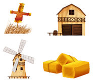 Barn houses, hays and a scarecrow Royalty Free Stock Photo