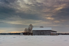 Barn Houses On The Snowy Fields Royalty Free Stock Images
