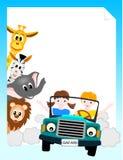 Barn i bil med djur stock illustrationer