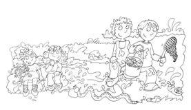 Barn i dammet med grodor, skissar, och blyertspennan skissar och klottrar vektor illustrationer