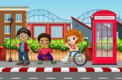 Barn i den stads- staden stock illustrationer