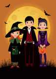 Barn i dräkten Halloween Fotografering för Bildbyråer