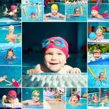 Barn i en simbassänguppsättning Royaltyfria Foton
