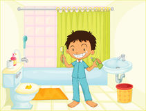 Barn i ett badrum Arkivbild