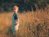 Barn i höstfält Royaltyfria Bilder