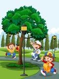 Barn i parkera royaltyfri illustrationer