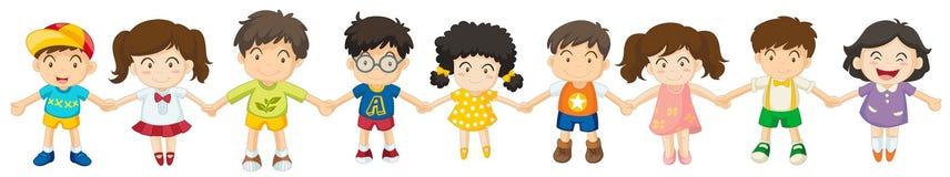 Barn i rad vektor illustrationer