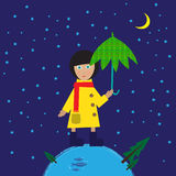Barn i regnrock under paraplyet Royaltyfri Foto