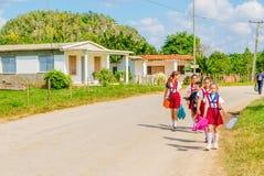 Barn i skolalikformig, Vinales, Kuba Royaltyfri Foto