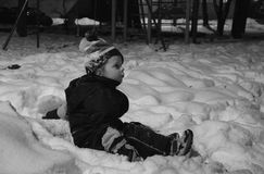 Barn i snow Royaltyfri Fotografi
