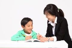 Barn i studie Arkivfoton