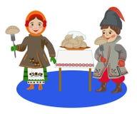 Barn i ukrainsk folkdräkt som äter klimpar Arkivbilder