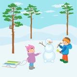 Barn i vinterskogen Arkivfoto