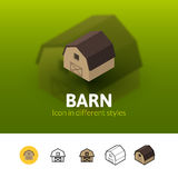 Barn icon in different style Royalty Free Stock Images