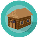 Barn illustration. With windows and green badge background Royalty Free Stock Images