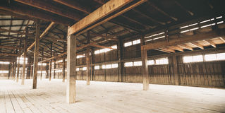 Barn Interior Wooden construction Architecture details. Perspective Stock Photography