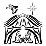 Barn, Jesus, Virgin Mary and Joseph, Angel and Star vector illustration
