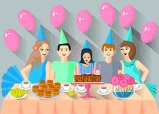 Barn kom att fira födelsedagen av deras vän stock illustrationer