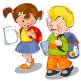 barn kommer skolan till Arkivfoto