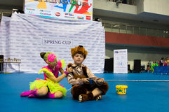Barn konkurrerar i SpringCup den internationella danskonkurrensen Royaltyfri Fotografi