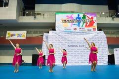 Barn konkurrerar i SpringCup den internationella danskonkurrensen Royaltyfria Foton