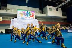 Barn konkurrerar i SpringCup den internationella danskonkurrensen Fotografering för Bildbyråer
