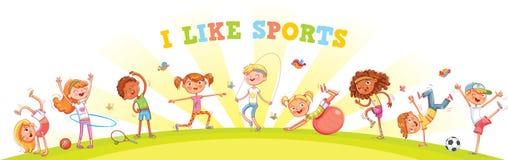 Barn kopplas in i olika sorter av sportar på naturbakgrund royaltyfri illustrationer