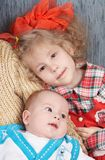barn little två arkivbild