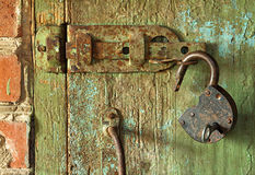 Barn lock is open Stock Photo