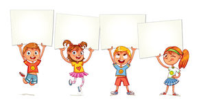 Barn lyfts upp plakat royaltyfri illustrationer