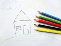 barn målad bild Arkivbilder