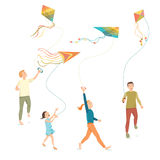 Barn med att flyga en drake Arkivbilder