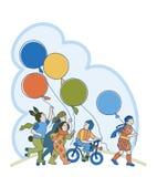 Barn med ballonger Royaltyfria Bilder