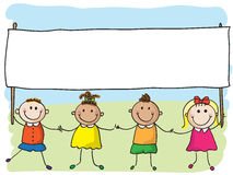 Barn med banret vektor illustrationer